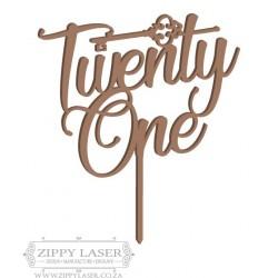 Twenty one cake topper with key
