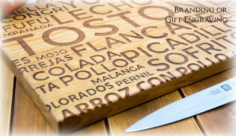Wood cutting board with personalized engraving